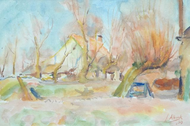 Jan Altink | Farmhouse behind pollard willows, Aquarell auf Papier, 31,5 x 44,0 cm, signed l.r. und datiert '39