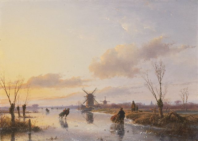 Andreas Schelfhout | Skaters on a Dutch waterway at sunset, Öl auf Tafel, 47,1 x 66,3 cm, signed l.r. und dated 1845
