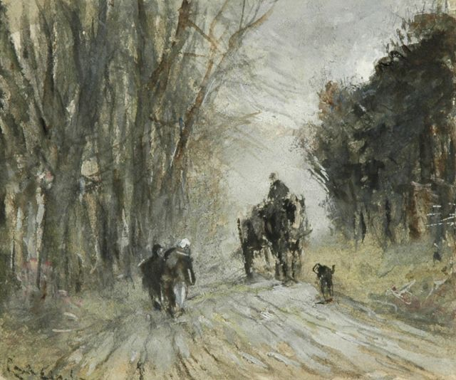 Louis Apol | Horse and carriage and figures on a snowy forest path, Aquarell auf Papier, 10,8 x 13,4 cm, signed l.l. (vague)