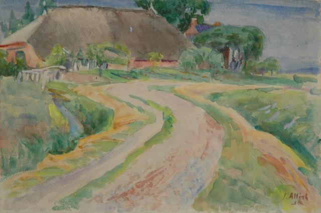 Jan Altink | Road along a farm, Groningen, Aquarell auf Papier, 38,0 x 57,0 cm, signed l.r. und datiert '56