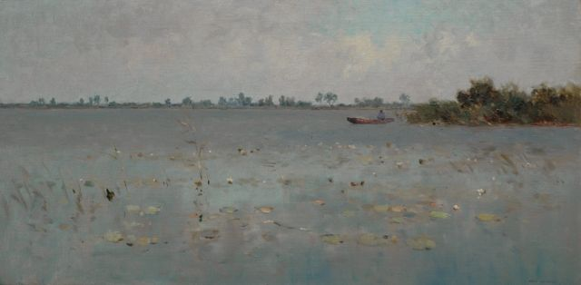 Knikker A.  | Man in a boat on a lake, Öl auf Leinwand, 40,5 x 80,4 cm, signed l.r.