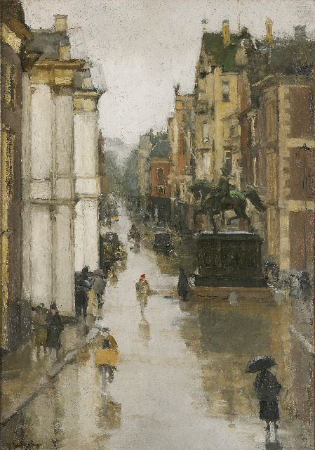 Floris Arntzenius | View of the Noordeinde, The Hague, Öl auf Leinwand, 62,4 x 43,5 cm, signed l.l.