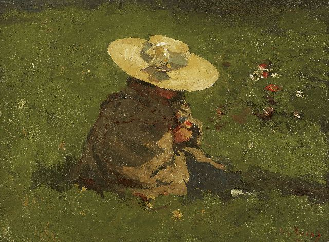 Willem de Zwart | Marietje, the artist's daughter, in a garden, Öl auf Leinwand auf Tafel, 27,0 x 35,7 cm, signed l.r. und painted ca. 1895