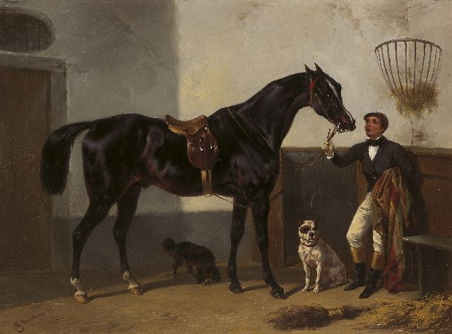 Wouterus Verschuur | A jockey with a racehorse in a stable, Öl auf Tafel, 27,7 x 37,2 cm, signed l.l.