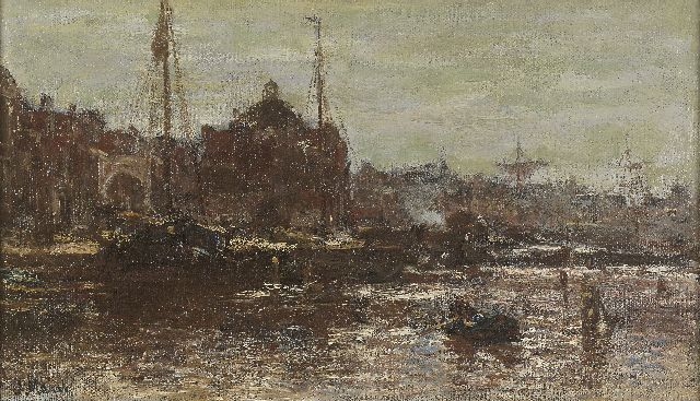 Jacob Maris | A view of Amsterdam, with the Koepelkerk, Öl auf Leinwand, 22,3 x 37,8 cm, signed l.l.