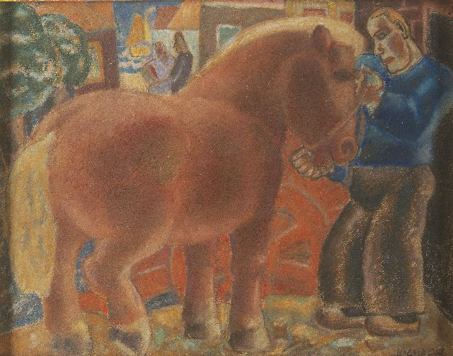 Leo Gestel | Farmer and horse, Pastell auf Papier, 25,8 x 32,8 cm, signed l.r. und dated '28
