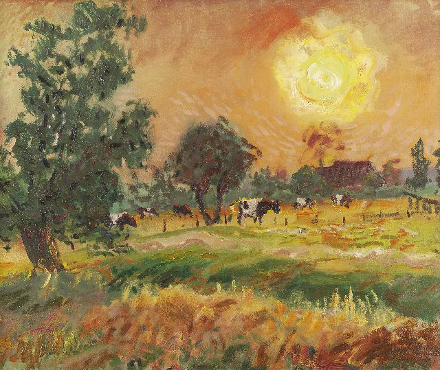 Jan Altink | Cows in the evening sun, Öl auf Leinwand, 50,0 x 60,3 cm, signed l.r. und datiert '41