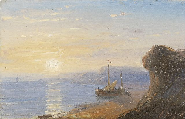 Andreas Schelfhout | The Normandy coast at sunset, Öl auf Kupfer, 5,8 x 9,1 cm, signed l.r. und painted between 1845-1849