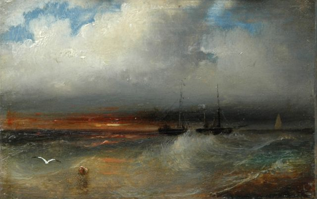 Andreas Schelfhout | Sunset at sea, Öl auf Kupfer, 6,2 x 9,4 cm, signed on the reverse und painted between 1845-1849