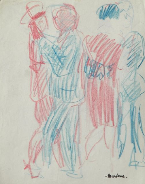George Martens | Dancing couples, Farbkreide auf Papier, 20,2 x 16,0 cm, signed with signature stamp l.r.
