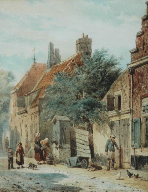 Springer C.  | The Grote Poortstraat, on the corner of the Kromhoutsteeg, in Harderwijk, Aquarell auf Papier, 27,0 x 21,6 cm, signed l.l. und dated 1863