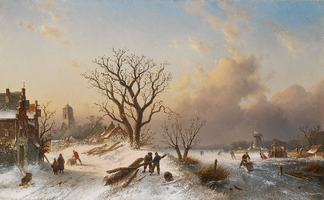 Charles Leickert | Dutch winter landscape with skaters on the ice, Öl auf Leinwand, 62,0 x 101,0 cm, signed l.r. und painted circa 1860-1865