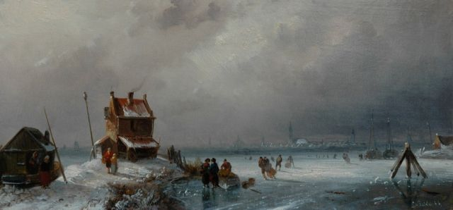 Charles Leickert | Skaters on a cloudy winter's day, Öl auf Tafel, 14,4 x 30,4 cm, signed l.r.