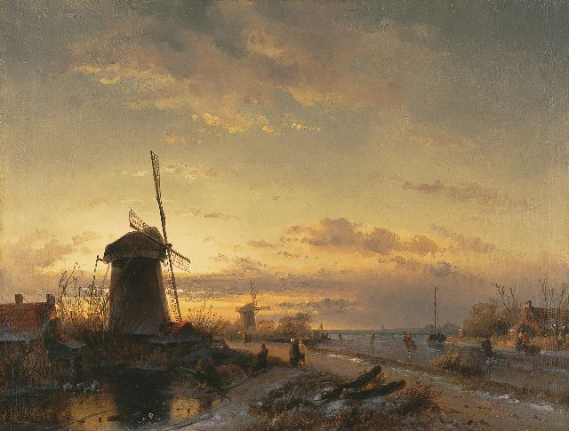 Charles Leickert | Landscape with skaters at sunset, Öl auf Leinwand, 43,5 x 57,6 cm, signed l.l. remainders of signature
