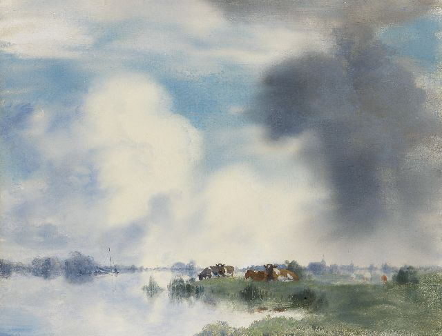 Jan Voerman sr. | Cows on the banks of the IJssel river near Hattem, Öl auf Tafel, 39,9 x 52,2 cm, signed l.r.