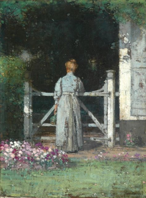 Jan Bogaerts | Near the garden fence, Öl auf Leinwand, 32,2 x 23,6 cm, signed l.r. und dated 1909