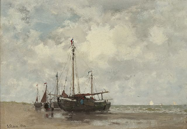 Jacob Maris | Fishing boats on the beach, Öl auf Leinwand, 32,9 x 46,4 cm, signed l.l. und dated 1874