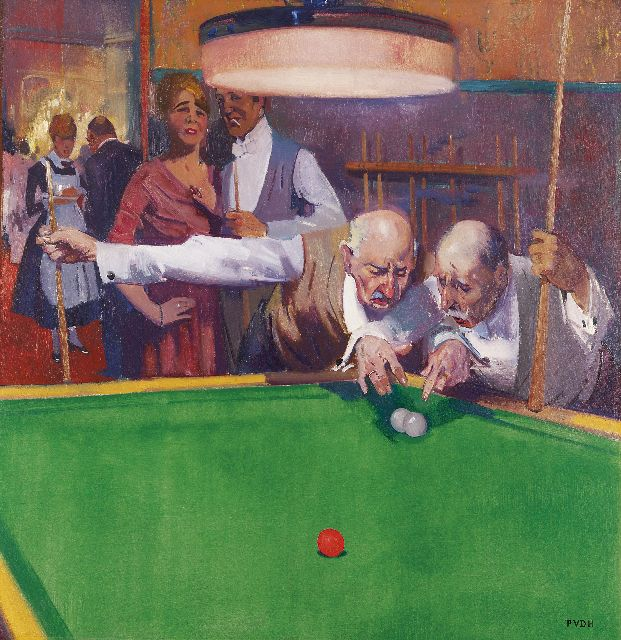 Piet van der Hem | Discussing a game of billiards, Öl auf Leinwand, 79,8 x 76,7 cm, signed l.r. and with initials und painted ca. 1919