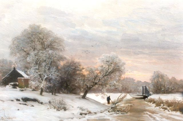 Louis Apol | Early morning in winter, Öl auf Tafel, 27,6 x 42,0 cm, signed l.l.