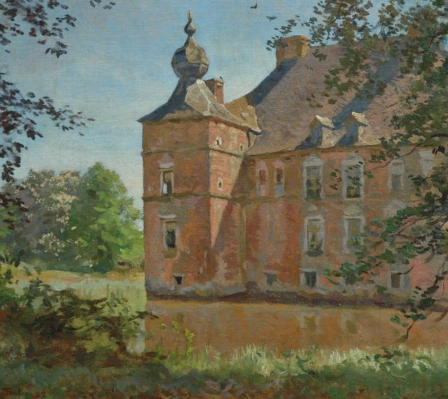 Tholen W.B.  | The Cannenburgh castle in summer, Öl auf Leinwand auf Tafel 37,3 x 41,4 cm, signed l.l. und dated '22