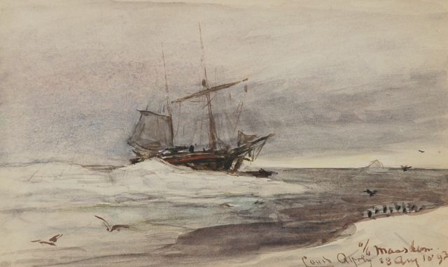 Louis Apol | On board of the Maasdam, Aquarell auf Papier, 11,5 x 19,0 cm, signed l.r. und dated 23 Aug. 1893