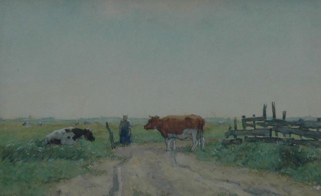 Knikker A.  | Farmer's wife and cows in the fields, Aquarell auf Papier, 21,3 x 33,3 cm, signed l.l.