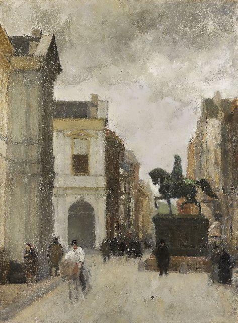Floris Arntzenius | Noordeinde, The Hague, with statue of Prince Willem I, Öl auf Leinwand, 60,0 x 44,9 cm, gesigneerd op spieraam