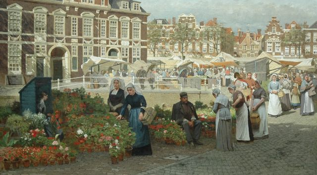 Johannes Christiaan Karel Klinkenberg | A view of the Grote Markt in The Hague with two women in 'Zuid-Holland' costume, Öl auf Leinwand, 82,1 x 144,0 cm, signed l.r.