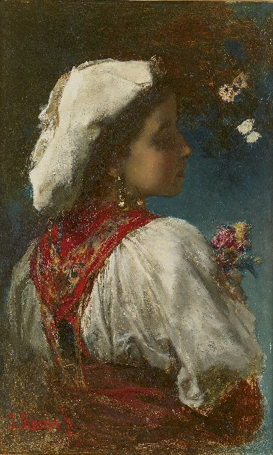Jacob Maris | Italienne with flowers and butterflies, Öl auf Tafel, 33,0 x 20,9 cm, signed l.l. und painted circa 1866-1868