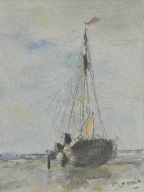 Jacob Maris | A menu with a watercolour of a barge on the beach, Aquarell auf Papier, 11,5 x 8,5 cm, signed l.r. und dated 4 mei 1895 reverse