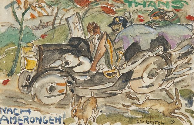 Leo Gestel | Nach Amerongen: Emperor Wilhelm II on his return, Aquarell auf Papier, 9,0 x 14,0 cm, signed l.r. und painted '18