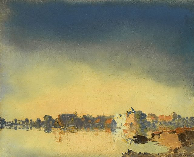 Jan Voerman sr. | Hattem on the river IJssel, Öl auf Tafel, 41,4 x 51,6 cm, signed l.r.