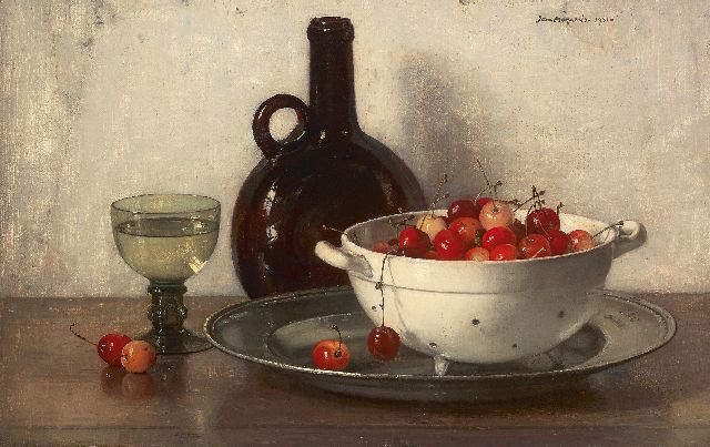 Jan Bogaerts | A still life with cherries, Öl auf Leinwand, 32,0 x 50,0 cm, signed u.r. und dated 1931