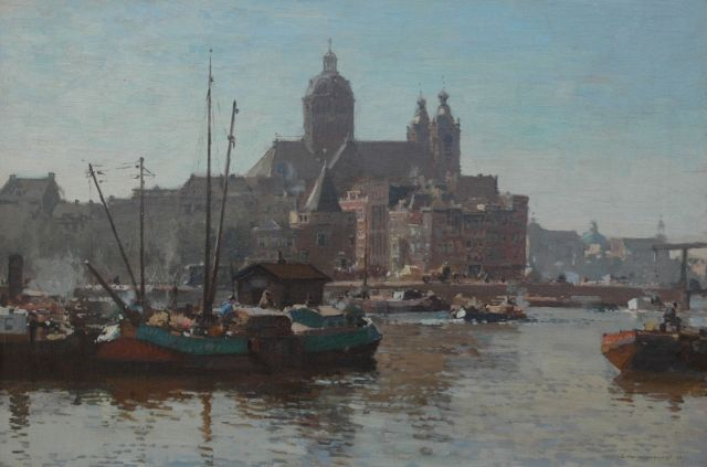 Cornelis Vreedenburgh | A view of the IJ and the St.-Nicolaas church in Amsterdam, Öl auf Leinwand, 40,2 x 60,2 cm, signed l.r. und dated 1927