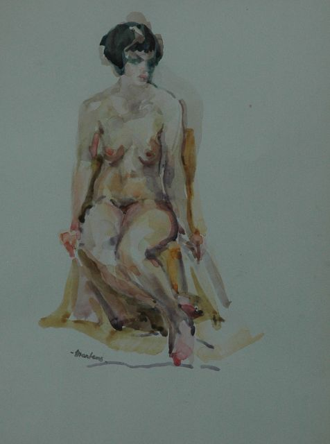 George Martens | A seated nude, Aquarell auf Papier, 29,5 x 21,5 cm, signed with signature stamp l.l.