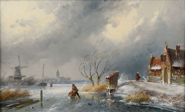 Charles Leickert | Winter landscape with skaters and a sledge, Öl auf Tafel, 16,2 x 26,2 cm, signed l.r.