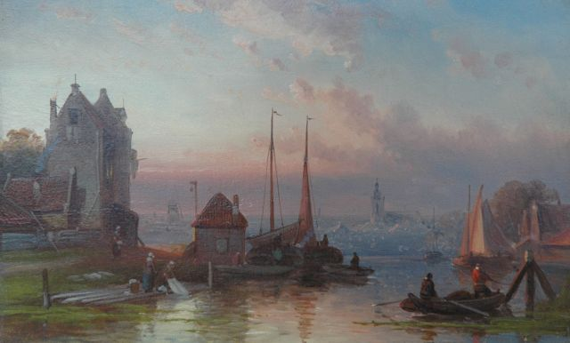 Charles Leickert | Moored vessels in a harbour town at sunset, Öl auf Tafel, 16,3 x 26,3 cm, signed l.r.