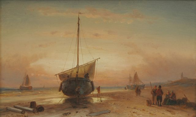 Charles Leickert | Barge on the beach at sunset, Öl auf Tafel, 16,2 x 26,2 cm, signed l.l.