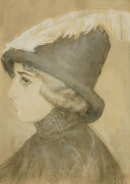 Gestel L.  | Lady with a hat, Pastell auf Papier, 49,6 x 34,0 cm, signed l.r. und executed ca. 1910-1911