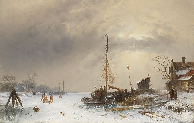 Charles Leickert | Winter landscape with skaters on a frozen river, Öl auf Tafel, 35,0 x 54,4 cm, signed l.r.