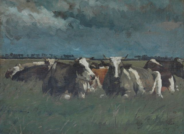 Jan Voerman sr. | Cows in de meadow near the IJssel river, Holland, Öl auf Leinwand, 30,3 x 41,3 cm, signed l.l.
