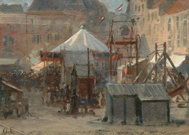 Otto Eerelman | At the fair, Vismarkt, Groningen, Öl auf Papier auf Tafel, 24,6 x 33,8 cm, signed l.l. with initials