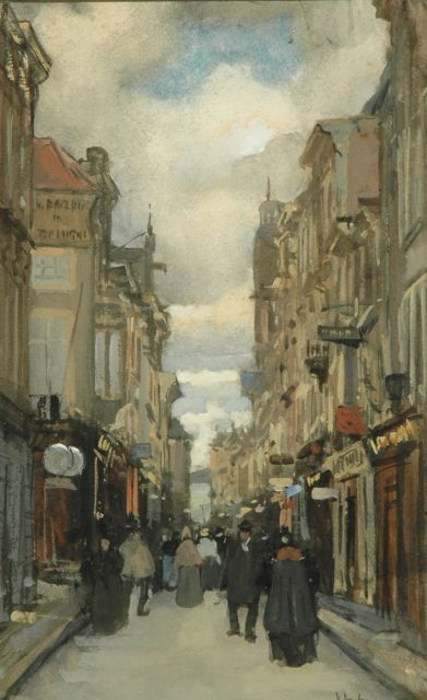 Floris Arntzenius | View on the Spuistraat, The Hague, Aquarell und Gouache auf Papier, 24,6 x 15,8 cm, signed l.r.