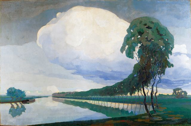 Dirk Smorenberg | Trees along a waterway, Öl auf Leinwand, 124,5 x 196,4 cm, signed l.r. und executed ca. 1915-1916