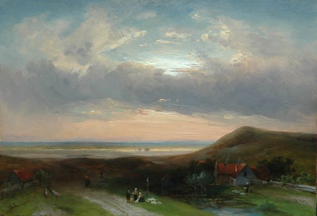 Charles Leickert | A summer evening in the dunes, Öl auf Tafel, 23,7 x 33,0 cm, signed l.l.