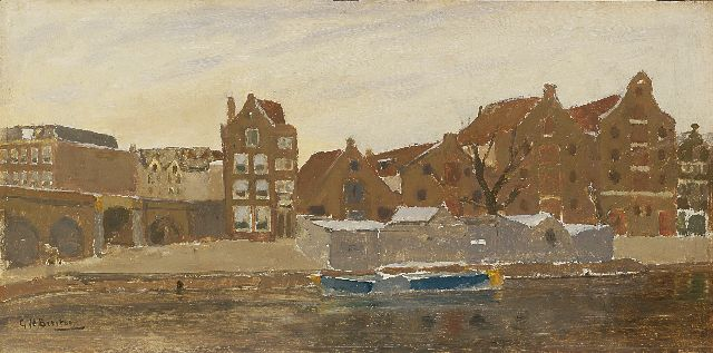 Breitner G.H.  | The view from the painter's studio on the Bickers island, Amsterdam, Ölfarbeskizze auf Tafel, 22,2 x 45,3 cm, signed l.l. und painted ca. 1902-1905