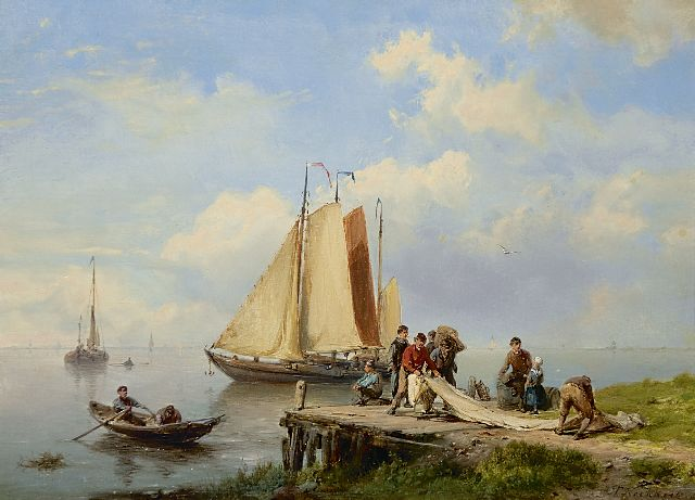Hermanus Koekkoek | Folding of the sails, Öl auf Tafel, 19,3 x 26,3 cm, signed l.r.