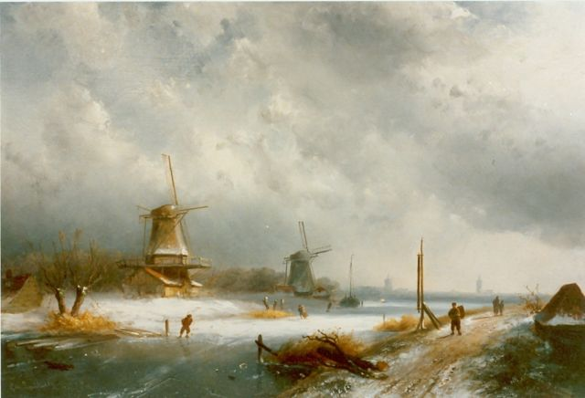 Charles Leickert | Dutch winterlandscape with skaters, Öl auf Tafel, 29,6 x 47,8 cm, signed l.r.