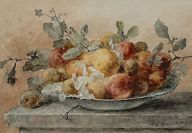 Margaretha Roosenboom | A still life with fruit and twigs on a plate, Aquarell und Gouache auf Papier, 46,6 x 66,3 cm, signed l.r.