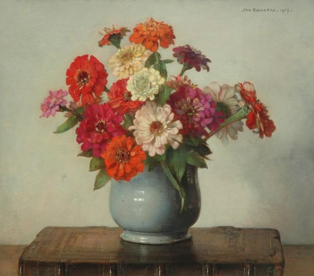 Jan Bogaerts | Zinnia in a glaced pot, Öl auf Leinwand, 40,4 x 45,3 cm, signed u.l. und painted 1937